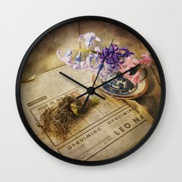 Still Life- Hyacinths and Old Newspaper Wall Clock