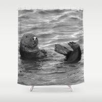 feet Shower Curtains featuring otter feet by Lisa Carpenter