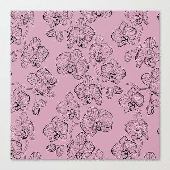 Retro . Orchid flowers on a pink background . Canvas Print