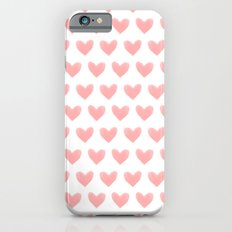 Coral Pink Watercolor Hearts Slim Case iPhone 6s
