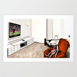 Corky's watching a  soccer game Art Print