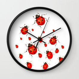 RED LADY BUGS  SWARM  ON WHITE COLOR Wall Clock