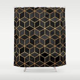 Black Cubes Shower Curtain