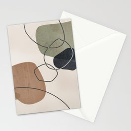 Linkedin Abstract in Sage Green, Cinnamon and Charcoal Grey Stationery Cards