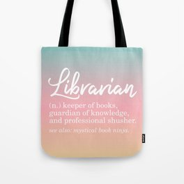 Librarian Funny - Pastel Rainbow Tote Bag