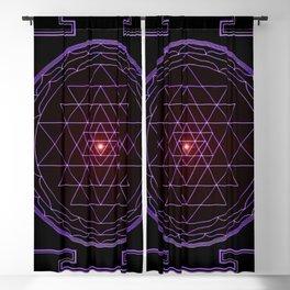 Ultraviolet Sri Yantra Blackout Curtain