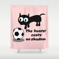football Shower Curtains featuring Cat Football by mailboxdisco
