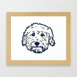 Goldendoodle dog face silhouette - perfect Golden doodle gift idea Framed Art Print