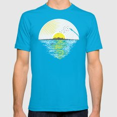 Morning Sounds Teal SMALL Mens Fitted Tee