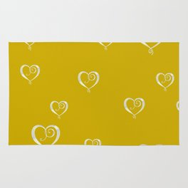 Polka Heart Party, Gold Rug