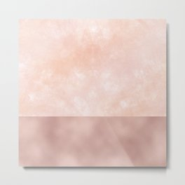 Rose-Gold Metallic and White Rose Marble Metal Print