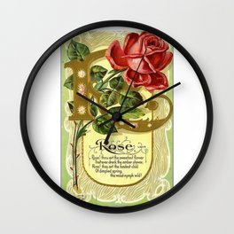 Vintage Rose Jar Label Wall Clock
