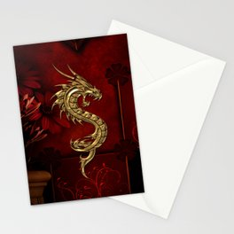 Wonderful golden chinese dragon Stationery Cards
