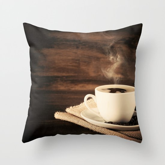 Happiness in a Cup (Porcelain coffee cup over wooden background) Throw Pillow