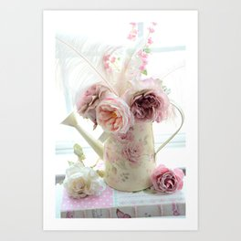 Shabby Chic Cottage Spring Floral In Water Bucket Art Print