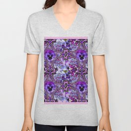 AWESOME GEOMETRIC LILAC PURPLE PANSIES GARDEN ART Unisex V-Neck
