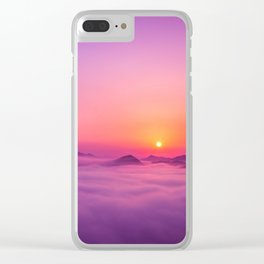 Korean Sunrise over the clouds Clear iPhone Case