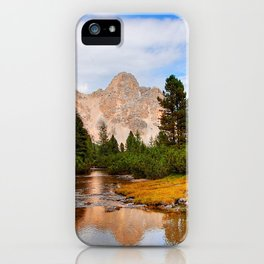 Flowing river with sky mountain and greenery iPhone Case