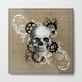 Skull With Gears and Floral Ornaments Metal Print