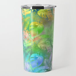 Iridescent Tropical Leaves in Aquas, Greens and Yellows Travel Mug