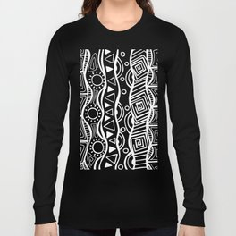 Four Waves - Freestyle Tribal Doodle Design - Black Long Sleeve T-shirt