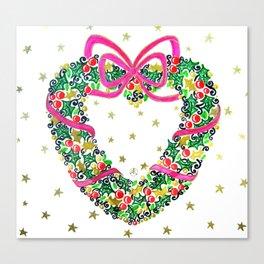 Xmas Heart Wreath Canvas Print