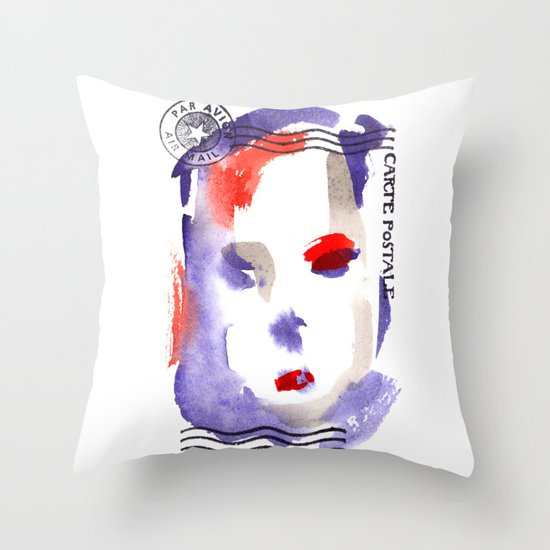 Carte Postale 2 Throw Pillow