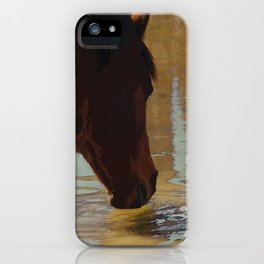 The Watering Hole  - Drinking Percheron Horse iPhone Case