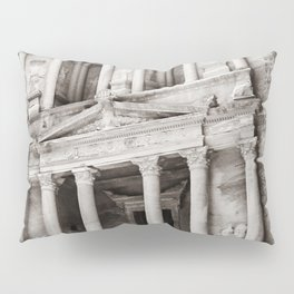 Camels at Petra | Black and White Stunning Stone Monument Hidden Lost City Treasury Carved Cliff Pillow Sham