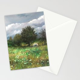 Landscape of nature with a white horse Stationery Cards