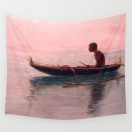 Man in his outrigger wa'a, Pink Sunset Hanauma Hawaiian landscape painting by D. Howard Hitchcock Wall Tapestry