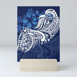 Blue Hawaiian - Samoan - Polynesian Tribal Tiare Print Mini Art Print