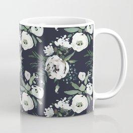 Blush pink white green black watercolor modern floral Coffee Mug