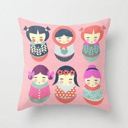 Babushka Russian doll pattern Throw Pillow