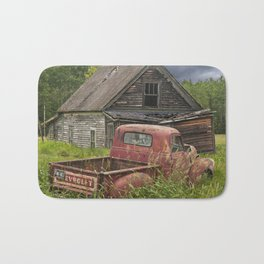 Old Chevy Pickup and Abandoned Farm House Bath Mat