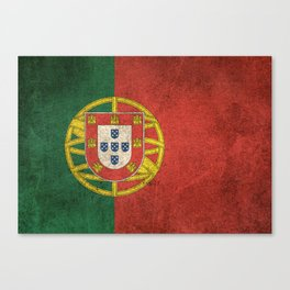 Old and Worn Distressed Vintage Flag of Portugal Canvas Print
