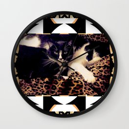 Love & Peace Cats on Black,White,Gold,Leopard Wall Clock