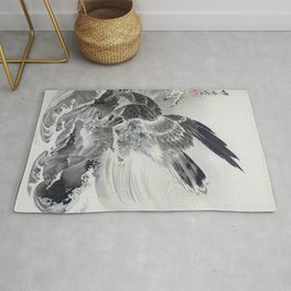 Kawanabe Kyosai - Eagle Attacking Fish - Digital Remastered Edition Rug