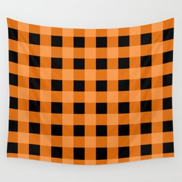 Orange and Black Buffalo Check Wall Tapestry