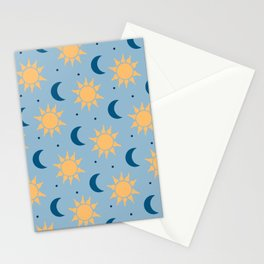Sun & Moon Pattern - Light Blue Stationery Cards