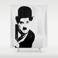 charlie Shower Curtains featuring Charlie by Liam Schultz