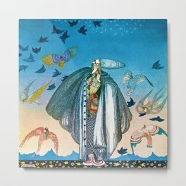 'Flock of Birds and Wild Flowers' magical realism portrait painting by Kay Nielsen Metal Print