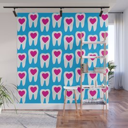 Teeth pattern with hearts in the center on blue background Wall Mural