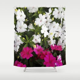 Patient Impatiens - Deep Pink and Sparkling White Shower Curtain