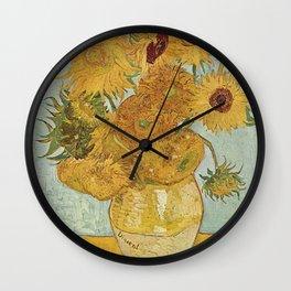 STILL LIFE: VASE WITH TWELVE SUNFLOWERS - VAN GOGH Wall Clock