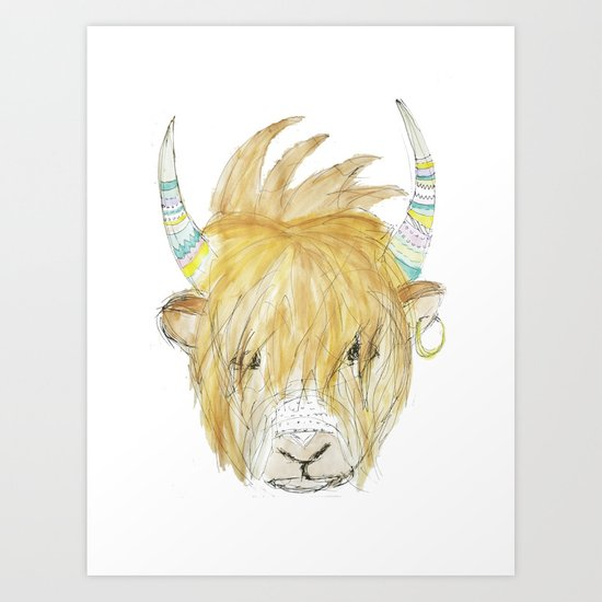 Yakety Yak Striped Illustration  Art Print