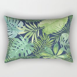 Tropical Branches on Dark Pattern 07 Rectangular Pillow
