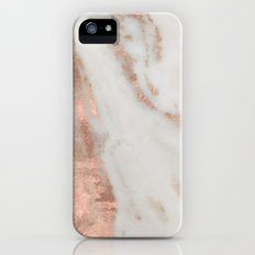 Marble - Rose Gold Shimmery Marble iPhone SE Slim Case