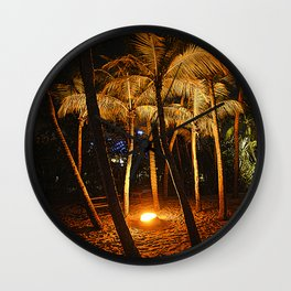 Orangy Illuminated Trees @ Siloso Beach Singapore. Wall Clock