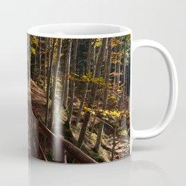 Wooden bridge crosses the forest illuminated by the autumn sun Coffee Mug